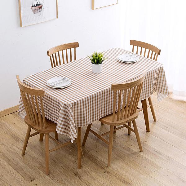 格子防水餐桌布客廳免洗桌布 歐式餐廳檯布長方形茶几桌墊(130*180cm)─預購CH5511