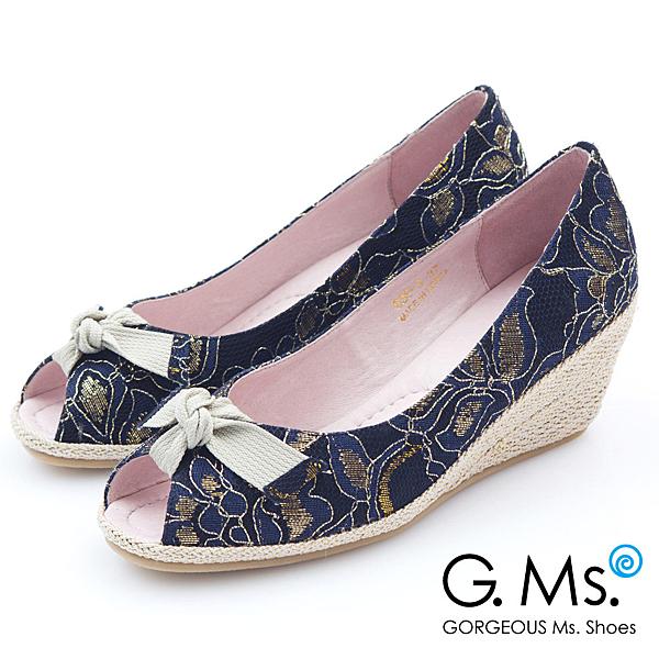 G.Ms. 魚口織帶蝴蝶結蕾絲金線花蔓楔型鞋*氣質藍