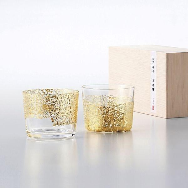 日本【木本硝子】江戶硝子 金玻璃 冷酒杯 對杯
