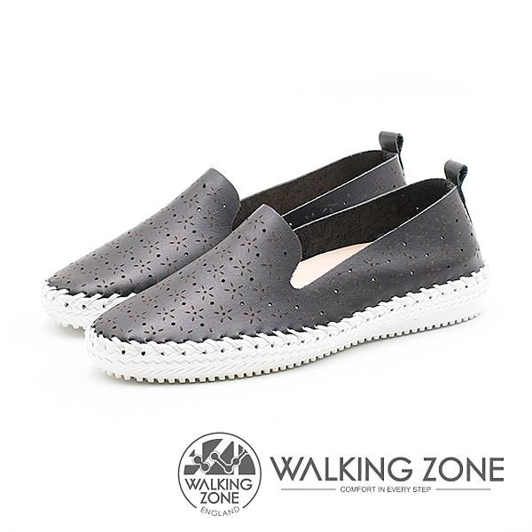 WALKING ZONE 簡約舒適皮革懶人樂福鞋便鞋 女鞋-黑(另有白/黃)