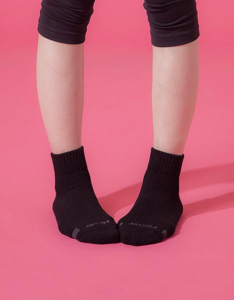 【 Footer 除臭襪】素面運動逆氣流氣墊襪 黑  22-25CM 女 (任選6雙960元)