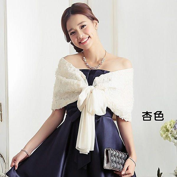 [3379-S]公主玫瑰花蕾絲亮片綁結禮服搭配披肩~小三衣藏