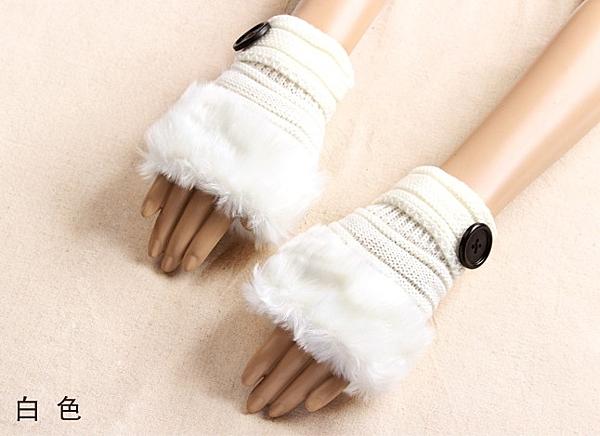 [協貿國際]韓版冬季女款仿兔毛半指手套白色1入