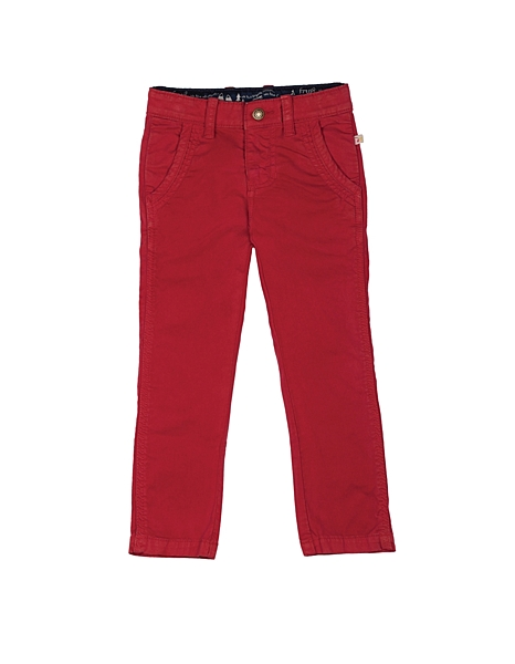 【英國Frugi】有機棉長褲 - 紅色長褲(可調式褲頭) TRA554BRR