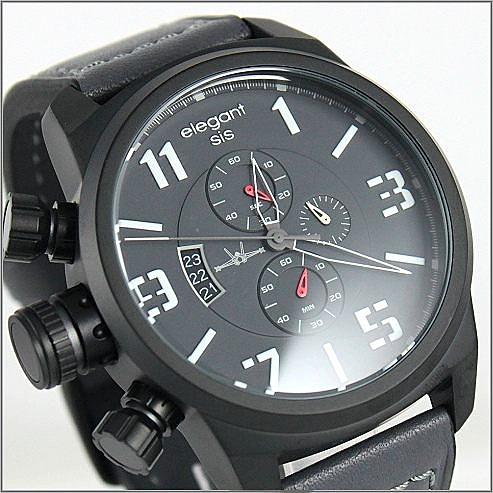 【萬年鐘錶】elegant大錶徑 三眼多功能 特別款(全黑) ELJT48-OG04LC