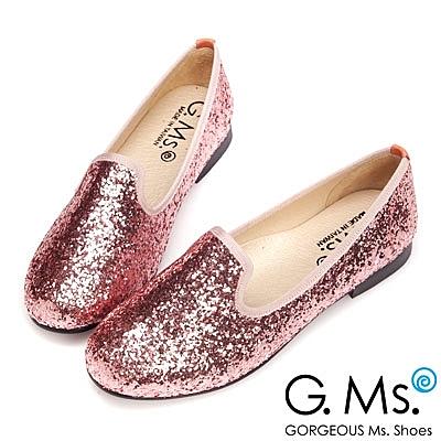 G.Ms. MIT系列-閃耀金蔥亮片全真皮樂福鞋-粉紅鑽