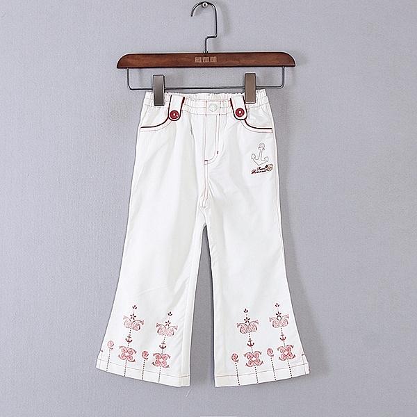 [超豐國際]巴春夏裝女童白色可愛印花微喇褲子 43502(1入)