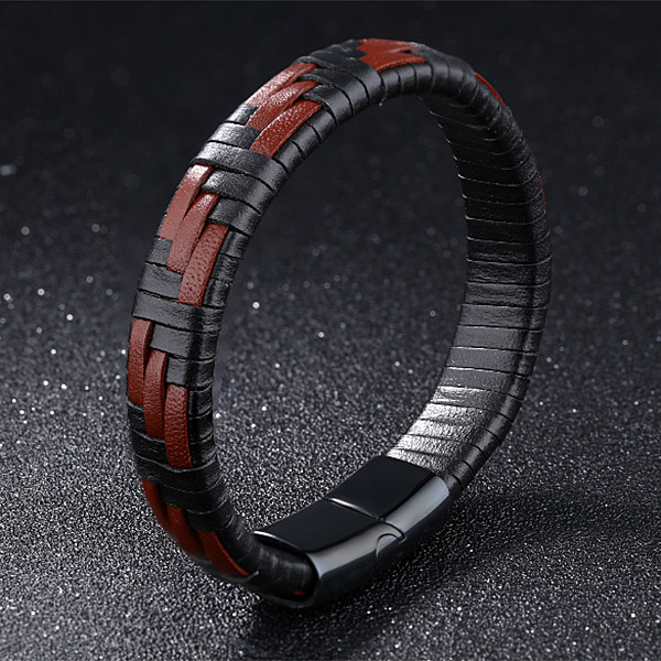 《 QBOX 》FASHION 飾品【L100N1143】精緻個性簡約交叉格紋黑棕皮革手鍊/手環