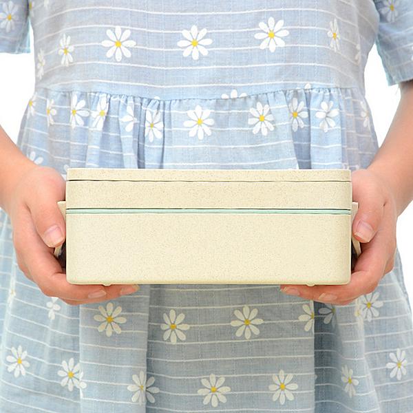 【雙層便當盒】附餐具 韓系北歐小麥秸稈 日式二格餐盒 學生上班族手提飯盒 2層野餐盒 餐具