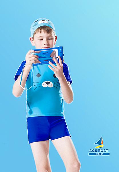 【M7220 】梅林泳裝↘特賣~男童藍色海獅短袖二件式泳衣  附造型泳帽