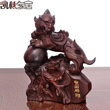 黑檀招財貔貅木雕擺件