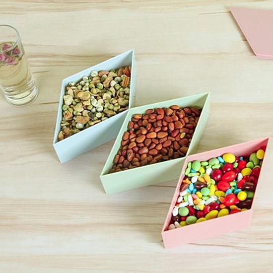 創意立體式糖果盒(菱形) 可拼接 帶蓋 零食 乾果盤 三角 桌面收納盒 餅乾 過年【N447】MY COLOR