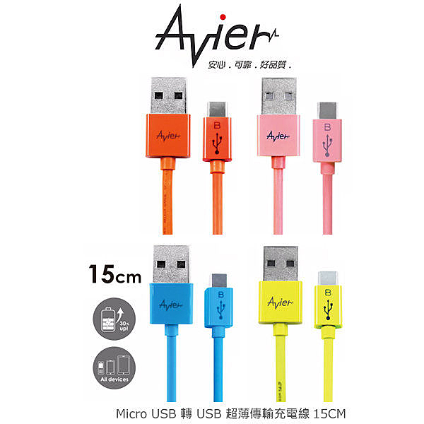 晶豪泰 分期0利率 Avier micro USB 轉 USB 超薄傳輸充電線15cm –彩色款 MU2015 傳輸線