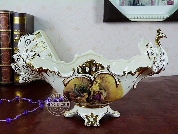 歐式豪華陶瓷果盆孔雀水果盤