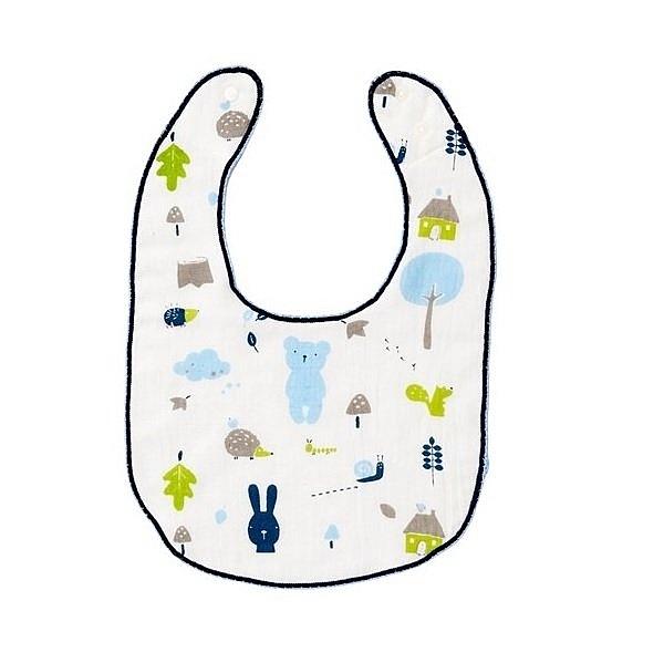 奇哥彩繪熊紗布毛巾(圍兜) 藍色 188元