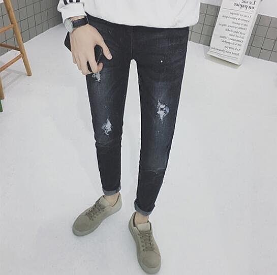 FINDSENSE品牌 男 潮 街頭時尚 水洗磨破 休閒長褲 牛仔長褲 小腳褲