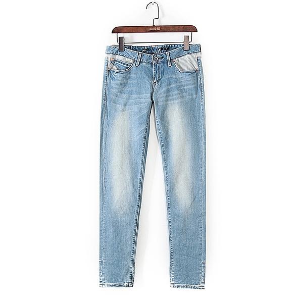 [超豐國際]堅春秋裝女裝藍色小腳修身顯瘦牛仔褲 42844(1入)