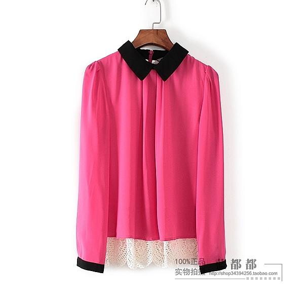 [超豐國際]香春秋裝女裝玫紅色蕾絲雙層淑女時髦雪紡衫 093(1入)