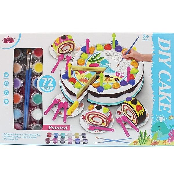 DIY彩繪生日蛋糕切切樂 空白蛋糕彩繪組 500-DG003/一盒入{促350} DIY蛋糕切切樂~生