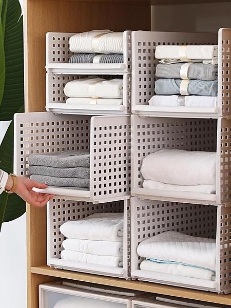 衣櫃收納分層隔板收納神器衣服收納箱塑料整理箱抽屜式大號儲物箱 露露日記
