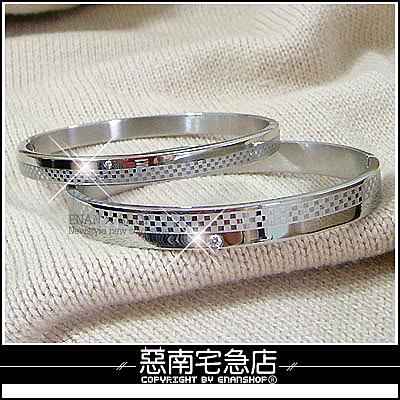 惡南宅急店【0030B】西德鋼『經典螺絲時尚手環』單鑽格紋可當情侶對鍊。單條區