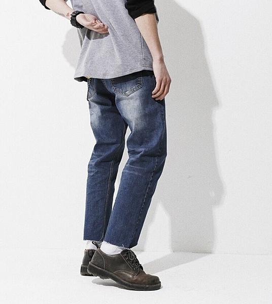 春夏新品日系復古直筒牛仔褲男潮流毛邊不對稱寬松九分褲