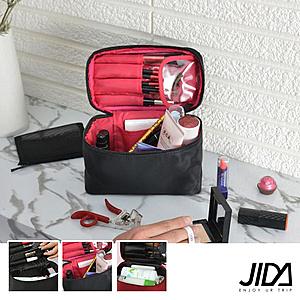 【韓版】網美款 加大款防水手提化妝包-可收刷具酒紅色