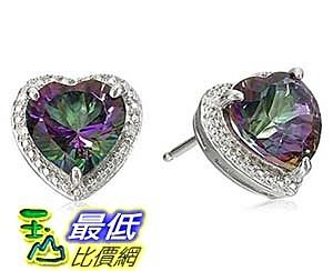 [美國直購] Sterling Silver Mystic Fire Topaz and Diamond-Accented Heart Stud Earrings 耳釘