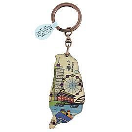 【收藏天地】台灣紀念品*寶島木質彩繪鎖圈-台北景點
