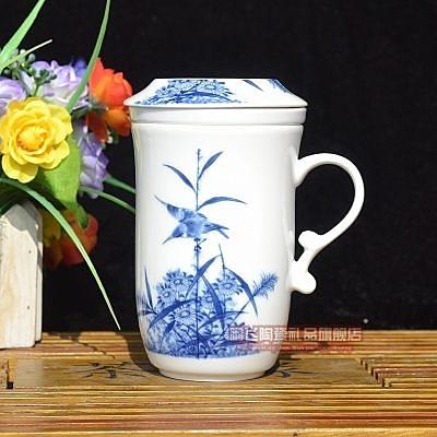 景德鎮 青花瓷 茶杯 釉中彩  三件套