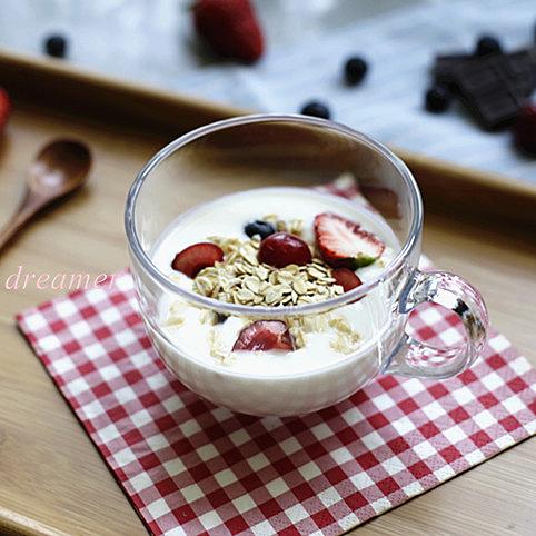 [超豐國際]圓形手柄牛奶杯大號玻璃杯麥片杯胖胖形早餐杯酸奶杯