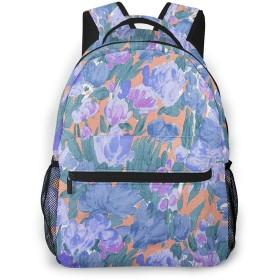 水彩 花柄 バックパック リュック キッズ 通学 遠足 旅行 多機能 大容量 収納