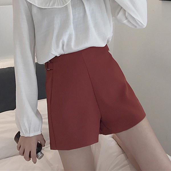 [超豐國際]夏季學院風A字闊腿短褲高腰休閑褲修身顯瘦百搭外穿1入