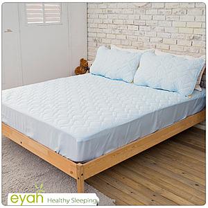 【eyah】台灣製純色加厚舖棉保潔墊床包式雙人-迷情藍