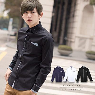 金屬領釦細條紋滾邊造型素面長袖襯衫【N9065J】