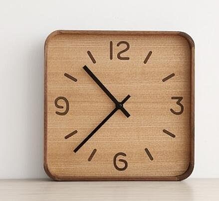 方形木製時鐘 日式掛鐘 靜音款
