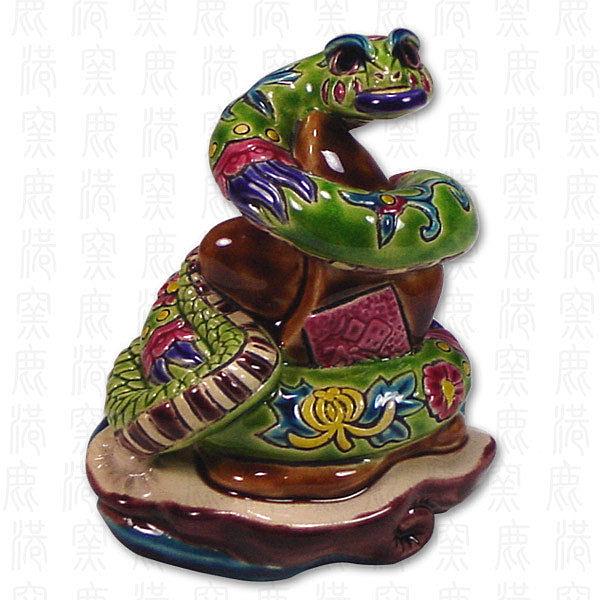 鹿港窯-居家開運商品-台灣國寶交趾陶S十二生肖文鎮-蛇◆附精美包裝◆免運費送到家