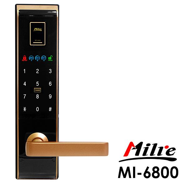 Milre 美樂 四合一密碼/指紋/卡片/鑰匙智能電子門鎖MI-6800黑金色(附基本安裝)