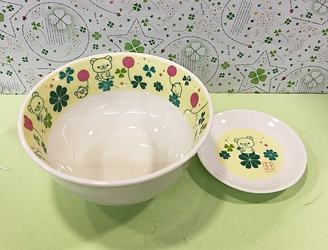 【震撼精品百貨】Rilakkuma San-X 拉拉熊懶懶熊~和柄陶瓷碗盤組-綠#87260