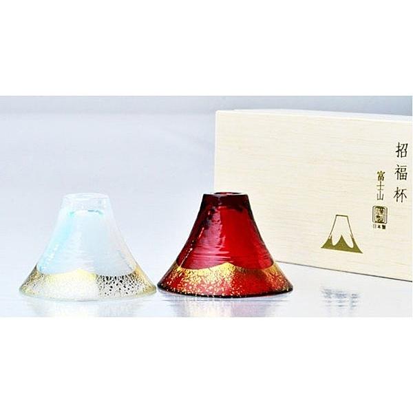 日本【木本硝子】富士山招福杯 冷酒杯 紅金對杯 65ml