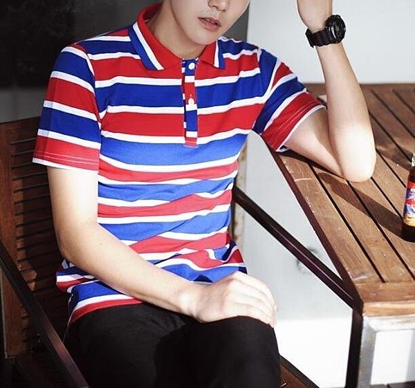 FINDSENSE MD 韓國 潮 男 時尚 翻領 撞色 寬條紋 POLO衫 短