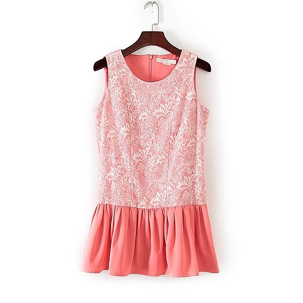 [超豐國際]面春夏裝女裝西瓜紅荷葉邊無袖上衣 31661(1入)