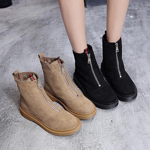 韓版免運秋季新款加絨平底中筒靴女棉鞋前拉鏈馬丁靴女瘦瘦短靴子