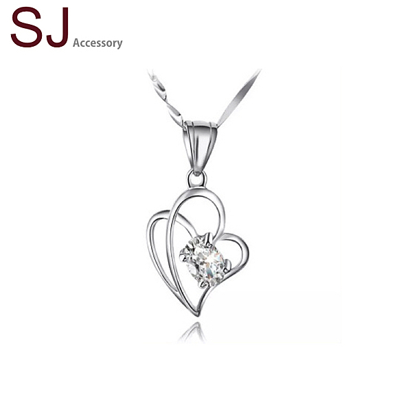 素簡手作《NS011》正白k~愛心纏繞鋯石晶鑽項鍊