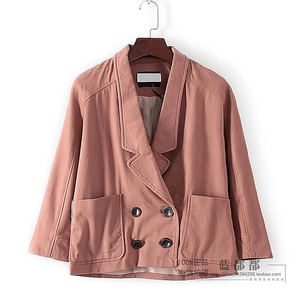 [超豐國際]百春夏裝女裝深粉色夾克式工裝外套 32162(1入)
