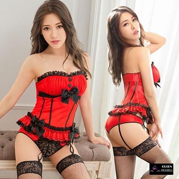五件組法式平口撞色性感馬甲+吊襪帶+內褲+網襪+透明肩帶-紅黑色【QUEEN時尚精品】
