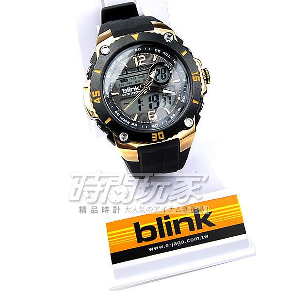 JAGA捷卡blink 大視窗 雙顯示 豪氣的魅力代表 多功能電子錶 休閒錶-黑金色手錶 AD127-AL