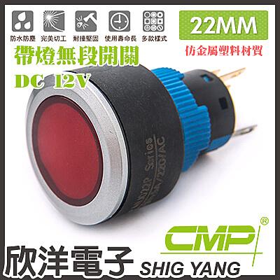 22mm仿金屬塑料帶燈無段開關DC12V / P2202A-12V  藍、綠、紅、白、橙色光自由選購/CMP西普