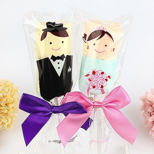 幸福婚禮小物❤新郎新娘棉花糖棒棒糖(串)❤ 喜糖/迎賓禮/二次進場/送客禮/棒棒糖/棉花糖