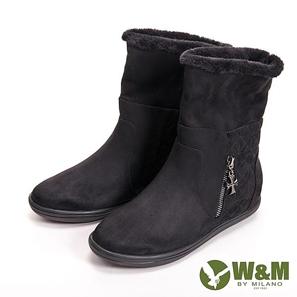 【W&M】經典毛絨十字拉鍊式中筒 女靴-黑(另有灰咖)